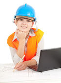 Female architect engineer at work — Stock Photo