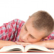 Tired male student with book — Stock Photo