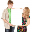Couple holding blank poster — Stock Photo