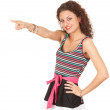 Pointing young woman - Stock Photo