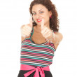 Young woman with thumbs up — Foto Stock