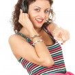 Girl in headphones — Stock fotografie