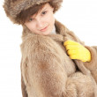 Girl in a fur coat and hat — Stock Photo