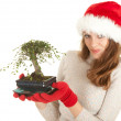 Stock Photo: Santa girl in red Christmas hat