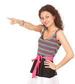 молодая женщина указывая — Стоковое фото