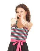 Młoda kobieta z kciuki — Zdjęcie stockowe