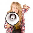 Screaming girl with megaphone — Stock Photo