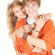 Handcuffed happy young couple — Stock Photo