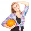 Stock Photo: Girl with orange pumpkin