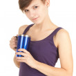Girl with big blue cup — Stock Photo