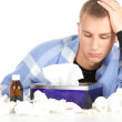 Sick young man with flu — Stock Photo #7280758