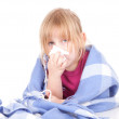 Little girl with a severe flu - Stock Photo