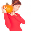 Stock Photo: Orange pumpkin with girl