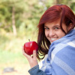 Healthy lifestyle - girl with apple — Stock Photo
