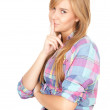 Stock Photo: Keeping silent beautiful girl