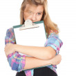 Casual girl keeping blank clipboard — Stockfoto #7281462