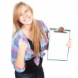 Casual girl keeping blank clipboard — Foto Stock