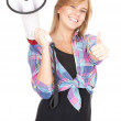 Megaphone and teenage girl — Stock Photo