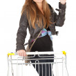 Girl with shopping cart - Lizenzfreies Foto