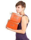 Mädchen mit orange-boxen — Stockfoto