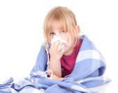 Little girl with a severe flu — Stock Photo
