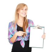 Casual girl keeping blank clipboard — Stock Photo