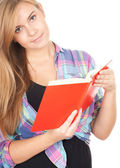 Girl with red book — Stock Photo