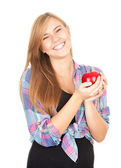 Healthy lifestyle - girl with apple — Stok fotoğraf