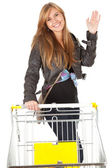 Girl with shopping cart — Stockfoto