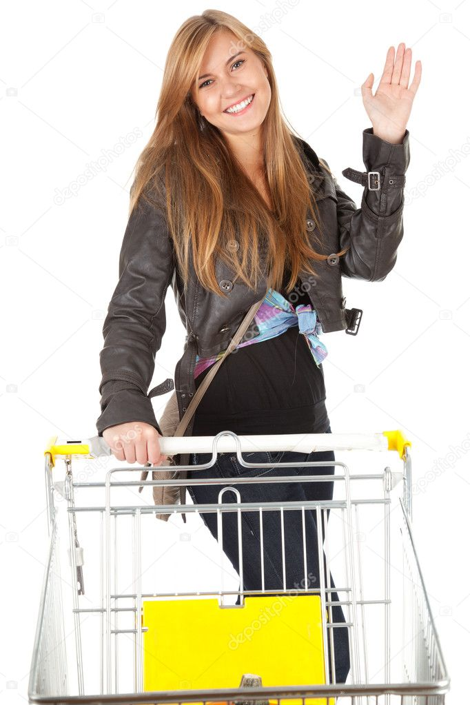 Young beautiful woman with shopping cart, white background — Stock Photo #7282099