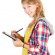 Foto Stock: Student girl writing on clipboard
