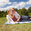 Happy couple on the meadow — Stock Photo