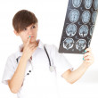 Stock Photo: Lady doctor and tomography brain