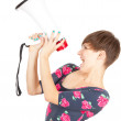Screaming girl with megaphone — Stock Photo #7326221
