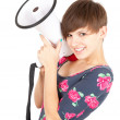 Smiling girl with megaphone — Stock Photo #7326223