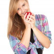 Healthy lifestyle - girl with apple — Stock Photo #7326357