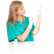 Female doctor pulling on surgical gloves — Stock Photo #7326371