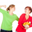 Stock Photo: Teenage female friends and chips