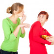 Teenage female friends and chips — Stockfoto #7326423