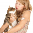 Teenage girl with her cat — Stock Photo