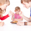 Hungry family - Stock Photo