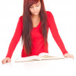 Girl with notebook — Stock Photo