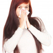 Sick girl with flu — Stock Photo