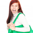 Crazy girl with shopping bag — Photo