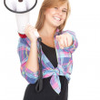 Stock Photo: Megaphone and pointing teenage girl