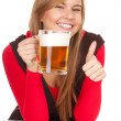 Girl with the mug of beer — Stock Photo