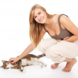 Royalty-Free Stock Photo: Teenage girl with her cat
