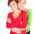 Hugging female friends — Stock Photo