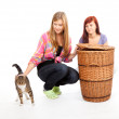 Female friends with cat — Stock Photo #7326771