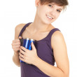 Girl with big blue cup - Foto Stock